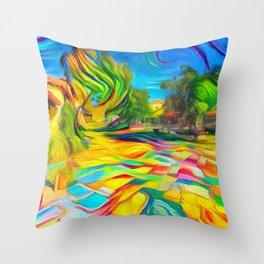 Spanish Art Village Throw Pillow