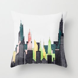 Colorful City Buildings And Skyscrapers Sketch, New York Skyline, Wall Art Poster Decor, New York Throw Pillow