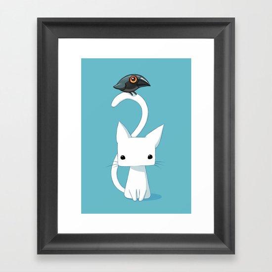 Cat and Raven Framed Art Print