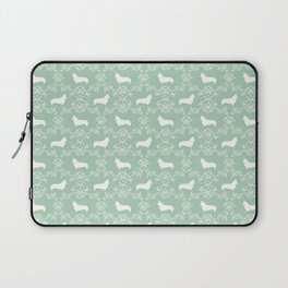 Corgi silhouette florals dog pattern mint and white minimal corgis welsh corgi pattern Laptop Sleeve
