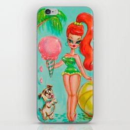 Retro Pin up Girl with Ice-cream and Beach Ball iPhone Skin