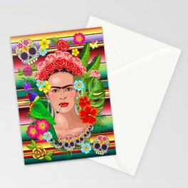 Frida Kahlo Floral Exotic Portrait Stationery Cards