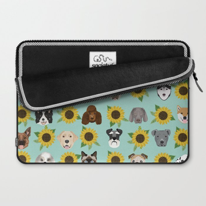 Dogs and cats pet friendly sunflowers animal lover gifts dog breeds cat person Laptop Sleeve