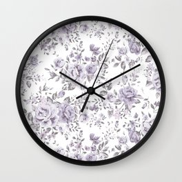 FLORAL VINTAGE ROSES MAUVE WHITE Wall Clock