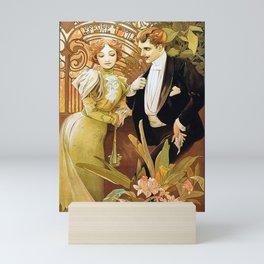 Alphonse Mucha Flirt Vintage Romantic Art Nouveau Mini Art Print
