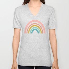 Simple Happy Rainbow Art Unisex V-Neck