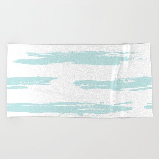 Swipe Stripe Succulent Blue and White Beach Towel