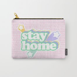 Stay Home / Pastel Pink Bricks Carry-All Pouch