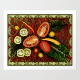 Tomatoes and Chard Art Print