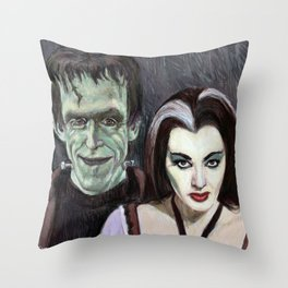 Lily and Herman Munster Throw Pillow