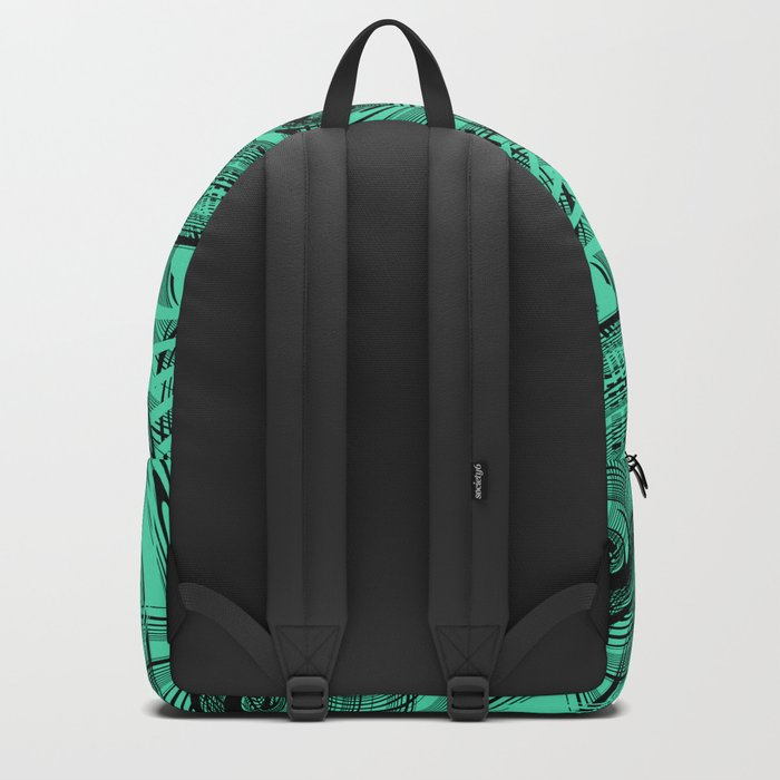 Turquoise , black , abstraction , spiral Backpack