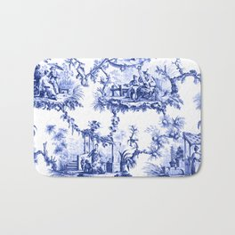 Blue Chinoiserie Toile Bath Mat