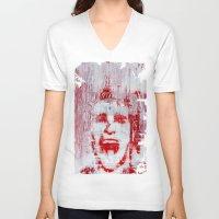 american psycho V-neck T-shirts featuring AMERICAN PSYCHO by John McGlynn
