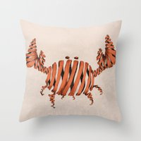 crab Throw Pillows featuring Crab by Claire.H