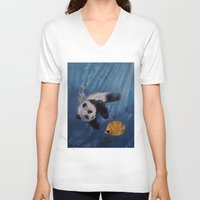 diver V-neck T-shirts featuring Panda Diver by Michael Creese