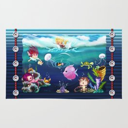 FUN•tastic Ocean ~ Colorful FUN & Friends Line Rug