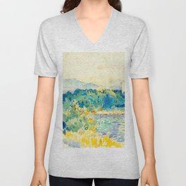 Mediterranean Landscape With a White House Watercolor Landscape Painting Unisex V-Neck