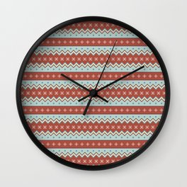 Red And White Zig Zag Christmas Pattern Wall Clock