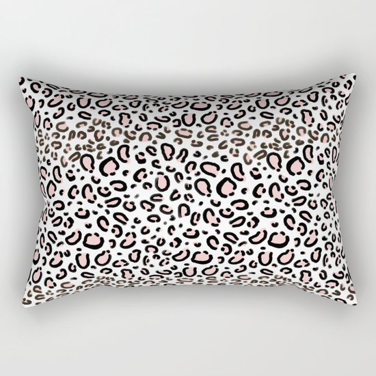 Leopard print rose quartz pantone color minimal animal print cute children pattern cheetah spots  Rectangular Pillow