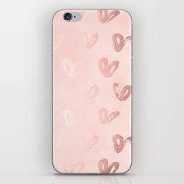 Rosegold Hearts on Pink iPhone Skin