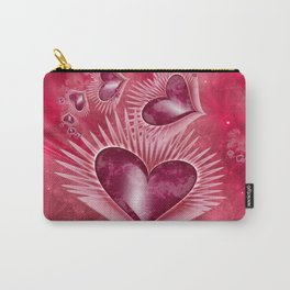 Girly Pink Hearts Carry-All Pouch