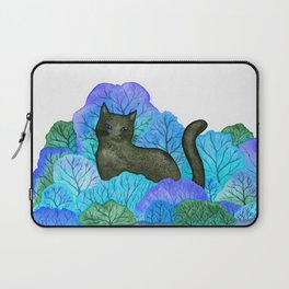 Blue Forest and Black Cat Watercolor Laptop Sleeve