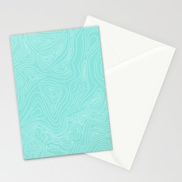 Ocean depth map - turquoise Stationery Cards