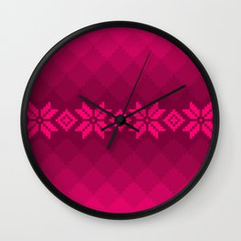 Pink knitted pattern Wall Clock