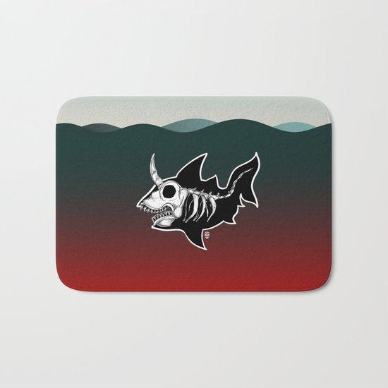 Dark Unicorn Shark Skeleton Bath Mat