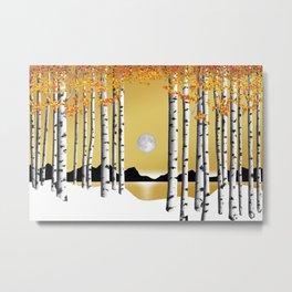 Aspen Gold Sky Moon Metal Print