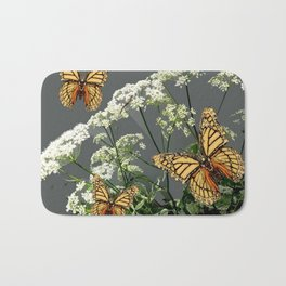 """CREAM COLORED BUTTERFLIES """"SPRING SONG"""" LACE FLOWERS Bath Mat"""