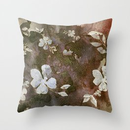Carved White Blossoms on the Rocks Throw Pillow