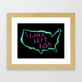 Upper Left, USA - Neon Framed Art Print