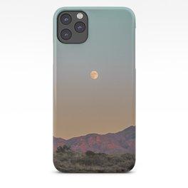 Sunset Moon Ridge // Grainy Red Mountain Range Desert Landscape Photography Yellow Fullmoon Blue Sky iPhone Case