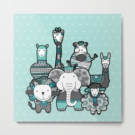 Doodle Animal Friends Aqua & Grey Metal Print