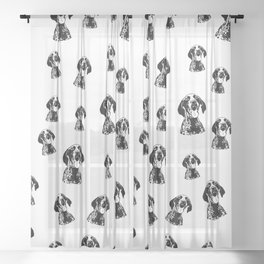 GERMAN POINTER SHORTHAIRED DOG, CHRISTMAS GIFT WRAPPED FOR ALL Sheer Curtain