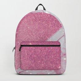 Modern geometric pastel pink lavender marble glitter  Backpack