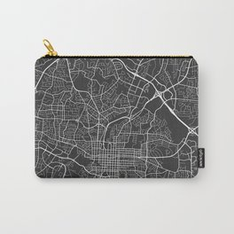 Raleigh Map, USA - Gray Carry-All Pouch