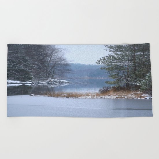 Blue Moment By The Lake  Beach Towel