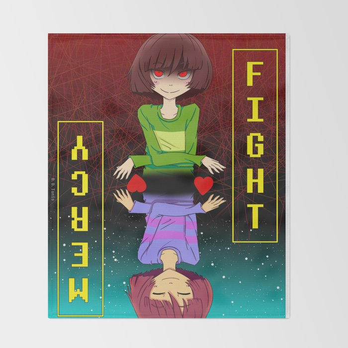 Undertale Fight Or Mercy Throw Blanket