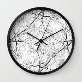 ABSTRACT BLACK AND WHITE FOREST TREE PATTERN Wall Clock