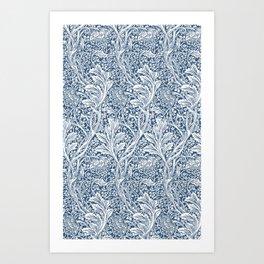 William Morris Navy Flower & Vine Pattern Art Print