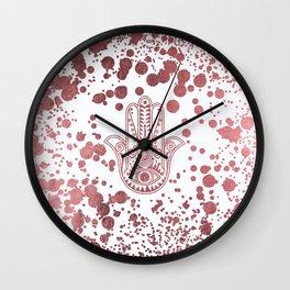 Chic elegant faux rose gold confetti hamsa hand of Fatima Wall Clock