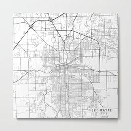 Fort Wayne Map, USA - Black and White Metal Print
