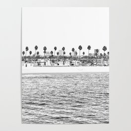 Vintage Newport Beach Print {4 of 4} | Photography Ocean Palm Trees B&W Tropical Summer Sky Poster