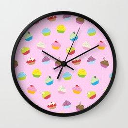 Cupcakes - pink Wall Clock