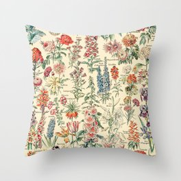 Vintage Floral Drawings // Fleurs by Adolphe Millot XL 19th Century Science Textbook Artwork Throw Pillow