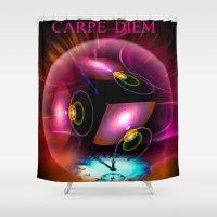 carpe diem Shower Curtains featuring Carpe Diem by Walter Zettl