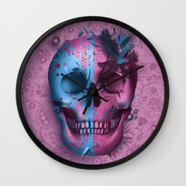 skull art decor pink Wall Clock