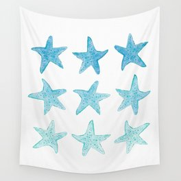 Blue Watercolor Starfish Wall Tapestry